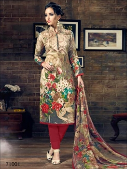 Picture of 71001Ivory and Multicolor Designer Straight Suit