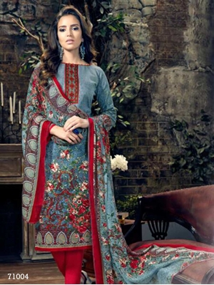 Picture of 71004Sea Green and Multicolor Designer Straight Suit
