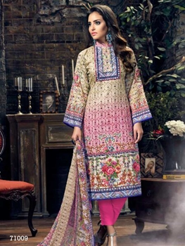 Picture of 71009Cream and Multicolor Designer Straight Suit