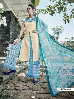 Picture of 1005Ivory Designer Unstitched Plazo Suit