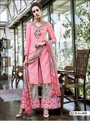 Picture of 1009Pink Designer Unstitched Plazo Suit