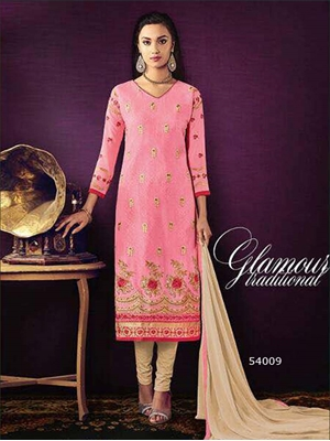 Picture of 54009Pink Designer Straight Suit