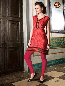 Picture of 64009Red Printed Stitched Kurtis