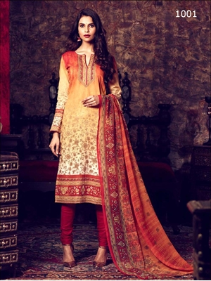 Picture of 1001Orange and Yellow Printed Straight Suit