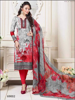 Picture of 69002Designer Gray Printed Straight Suit