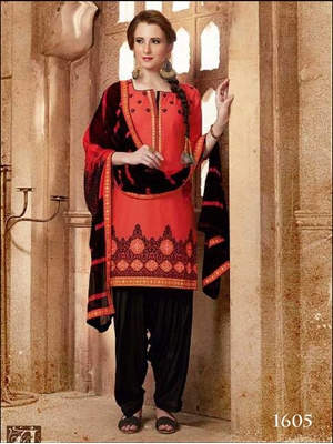 Picture of 1605Carrot Red Designer Patiala Suit