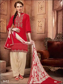 Picture of 1612Red Designer Patiala Suit