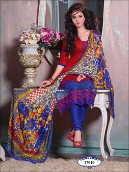 Picture of 17016Red & Dark Blue Designer Plazo Suit