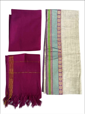 Picture of A1138 Purple Colored Handloom Cotton Dress Material