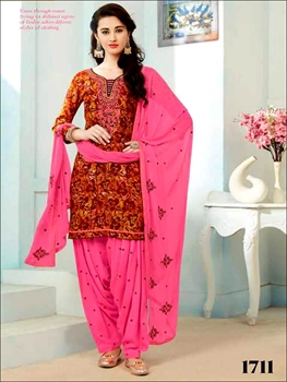 Picture of 1711 Dark Orange and Multicolor Printed Patiala Suit