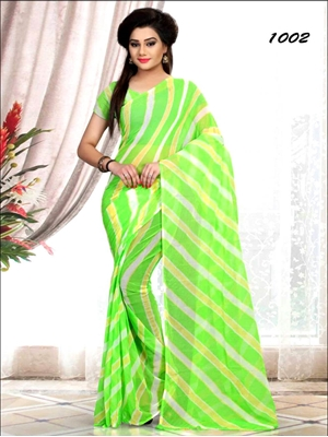 Picture of 1002 Mint Green Printed Laheriya Saree