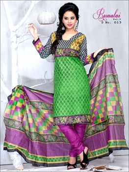 Picture of 013Black and Parrot Green Printed Salwar Suit