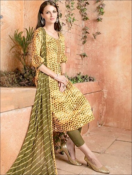 Picture of 006 Yellow and Mehandi Green Designer Straight Suit