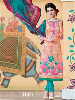 Picture of 1001Candy Pink And  Bottle Green Straight Suit