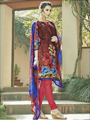 Picture of 6004Dark Brown And Red Straight Suit