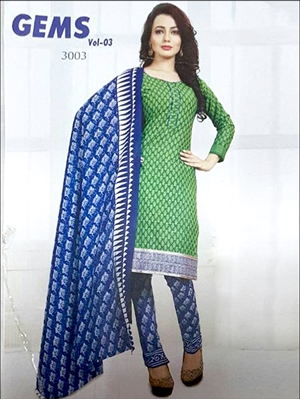 Picture of 3003Green And Blue Designer Straight Suit