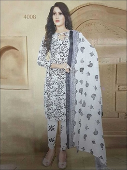 Picture of 4008 Black Coloured Printed Straight Suit