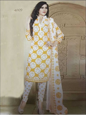 Picture of 4009 Yellow Coloured Printed Straight Suit