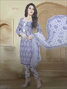 Picture of 4010 Purple Blue Coloured Printed Straight Suit