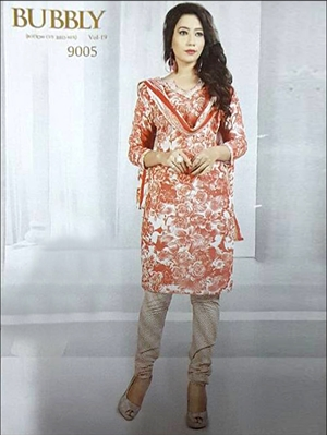 Picture of 9005 Red Coloured Printed Straight Suit