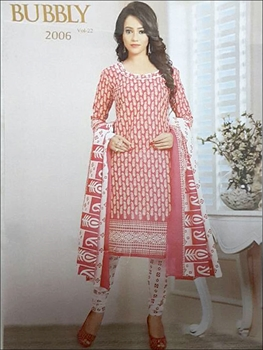 Picture of 2006 Pinkish Red Coloured Printed Straight Suit
