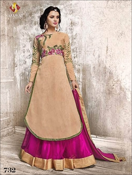 Picture of 732 Peach Coloured Designer Anarkali Suit