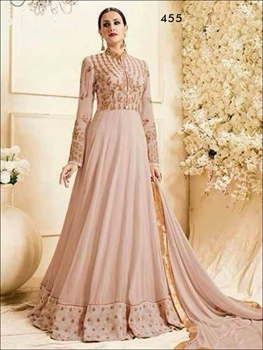 Picture of 455 Apricot Designer Georgette Anarkali Suit