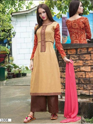 Picture of 1008 Burlywood Printed Glace Designer Suit