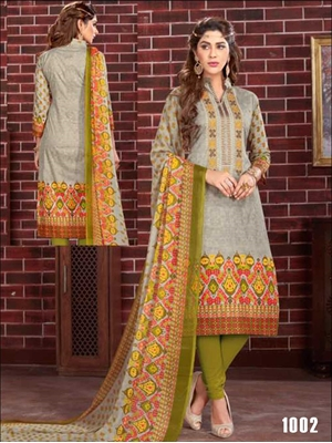 Picture of 1002 Olive Printed Straight Suit