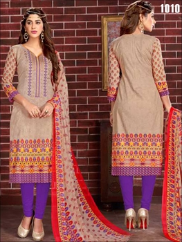 Picture of 1010 Beige Printed Straight Suit