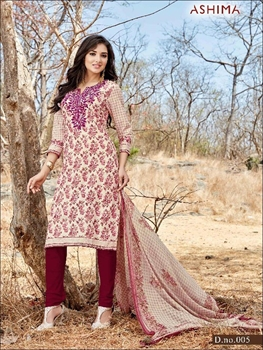 Picture of 005 Ivory and Maroon Printed Straight Suit