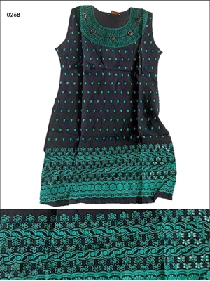 Picture of 026B Sea Green and Black Designer Cotton Kurtis