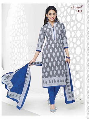 Picture of 1411 Gray Colored Printed Salwar Suit