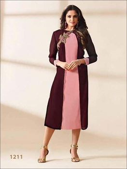 Picture of 1211 Coffee and Pink Georgette Kurti