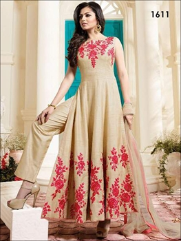 Picture of 1611 Beige Banglory Silk Anarkali Replica Suit
