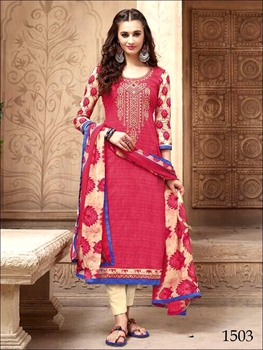 Picture of 1503Magenta Red Designer Straight Suit