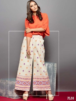 Picture of 90 Cream Printed Palazzo Pant