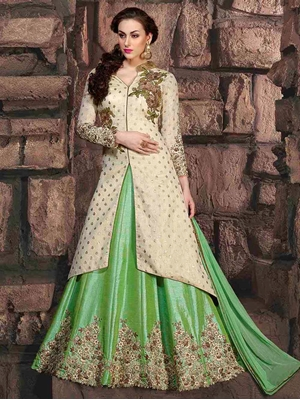 Picture of 10005 Parrot Green Designer Party Wear Replica Suit
