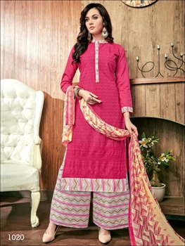 Picture of 1020 Magenta Designer Plazzo Suit