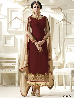 Picture of 13402C Maroon Designer Straight Suit Replica