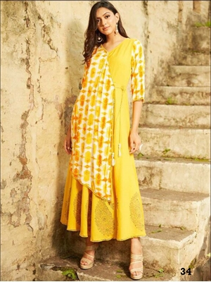 Picture of 34 Yellow Designer Stylish Gown