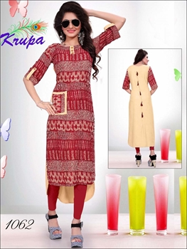 Picture of 1062 Red Designer Kurtis