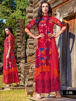 Picture of 58 Red and Blue Designer Kurtis