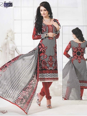 Picture of 1697A Black and Red Cotton Straight Suit