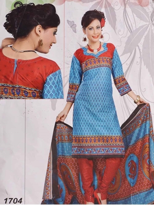 Picture of 1704 Firozi Blue Printed Salwar Suit