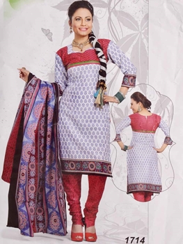 Picture of 1714 White Printed Salwar Suit