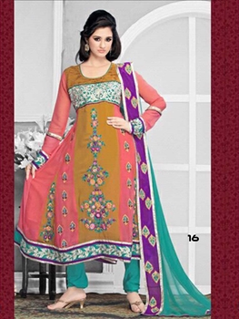 Picture of 16 Brown and Pink Designer Anarkali Suit