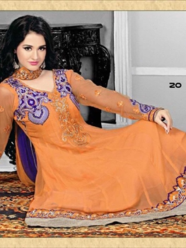 Picture of 20 Orange Designer Anarkali Suit