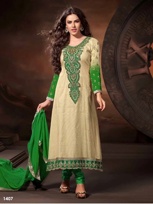 Picture of 1407 Ivory and Green Designer Anarkali Suit