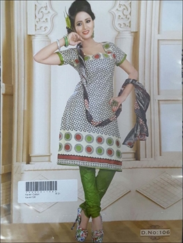 Picture of 106 White and Gray Printed Salwar Suit